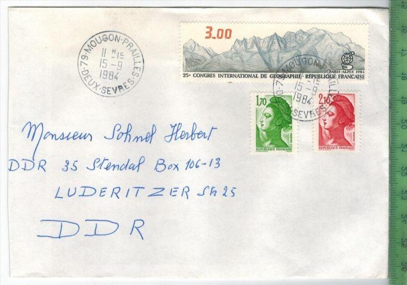 Frankreich 1984, MiF, 2 x Stempel , MOUGON 15.9.1984Zustand: Gut