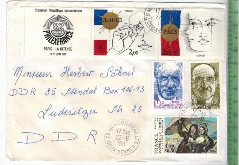 Frankreich 1981, MiF, 3 x Stempel , MOUGON 22.6.1981Zustand: Gut