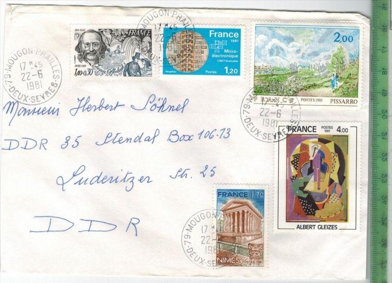 Frankreich 1981, MiF, 4 x Stempel , MOUGON 22.6.1981Zustand: Gut