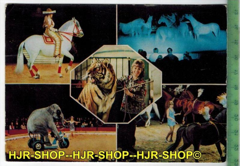 Circus Krone, Christel Sembach-Krone  Verlag: Eicke, POSTKARTE-mit Frankatur, mit  Stempel, HAMBURG 17.2.86 gelaufen.Erh