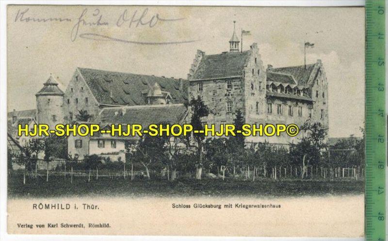 Römhild, Schloss Glücksburg mit Kriegswaisenhaus 1909- Verlag: Karl Schwerdt, Römhild,  POSTKARTE-mit Frankatur, mit  St