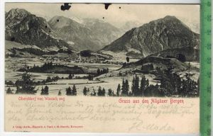 Oberstdorf von Wasach aus-1904- Verlag: M. Rauch, Kempten POSTKARTE-ohne Frankatur, mit  Stempel, IMMENSTADT 23.6.04