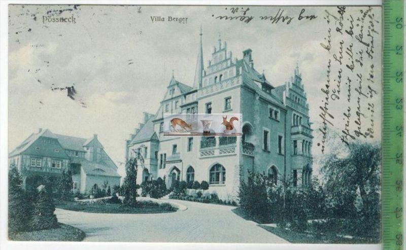 Pössneck, Villa Berger - 1914Verlag: Franz Schwenke, Pössneck,   POSTKARTEmit Frankatur, mit Stempel PÖßNECK 6.3.14    E