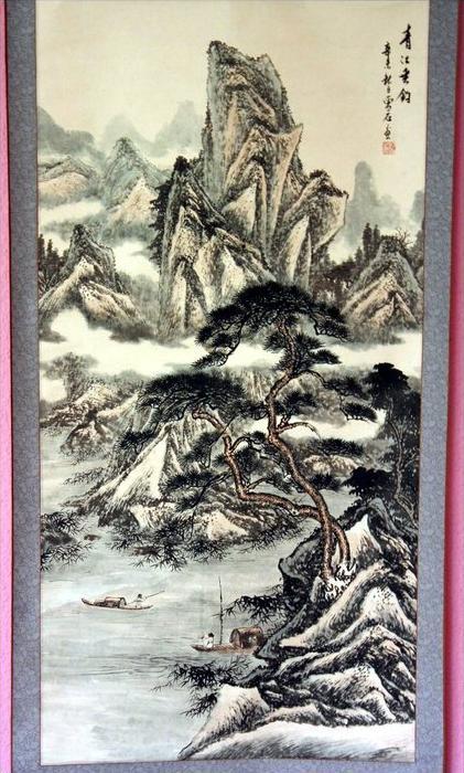 China – Anonymer Maler, Landschschaft auf HängerolleTusche auf grau laviertem Papier,oben rechts beschrieben, mit