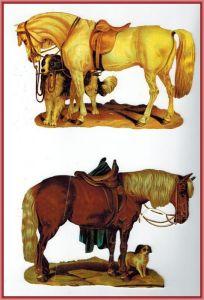 Oblaten, 2x Pferde und HundMaße: 16,5 x 10,5 cmZustand: sehr gut