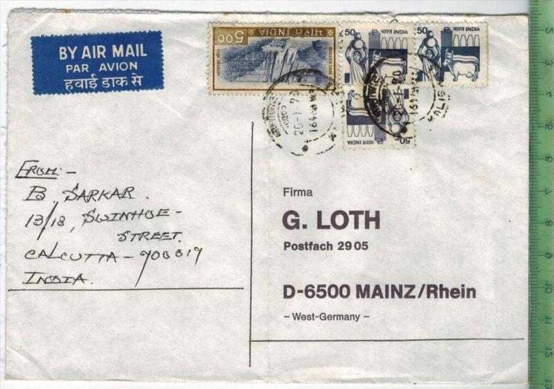 Brief gelaufen, Calkutta-Mainz, mit MiF.Erhaltung  gut
