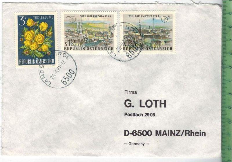 Brief gelaufen, Rep. Österreich, mit MiF.  29.9.81Erhaltung  gut