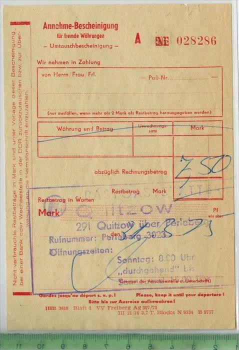 Konsum, Quitzow über Perleberg 1975