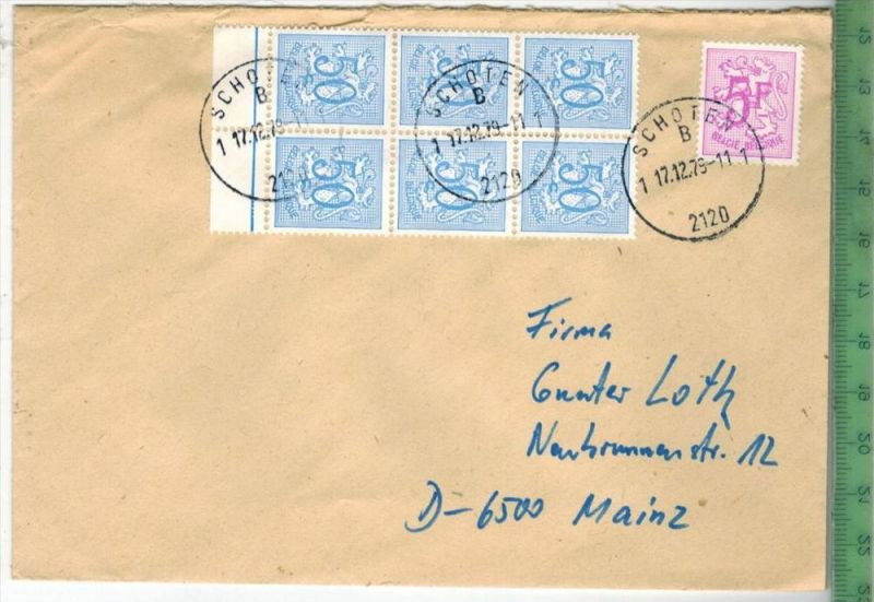 Belgien Mischfrankatur auf Briefgest.  SCHOTEN 17.12.1979Zustand: Gut