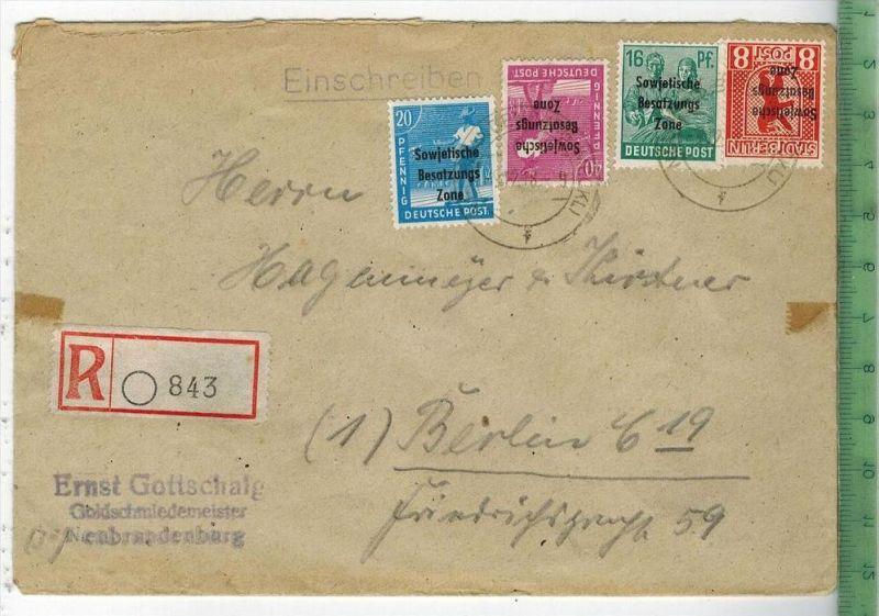 Brief, Einschreiben, Sowj. Zone, MiF.  1948MiNr. 193,40 Pf., 189, 20 Pf.,187, 16 Pf., 202A, 8 Pf. Brief, Maße: 16,5 x 11