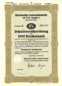 Mitteldeutsche Landesbankanleihe von 1942 Ausgabe I