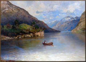 Monogrammist LR: Fjordlandschaft. Öl/Leinwand