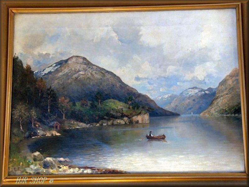 Monogrammist LR: Fjordlandschaft. Öl/Leinwand 1