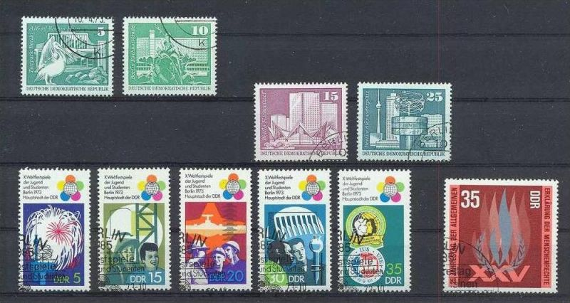 1973, Satz  Weltfestspiele 5 W 1862-66 gest., Satz Aufbau DDR 2 W 1842,1843 gest., Satz Aufbau DDR 2 W 1853,1854 gest., 0