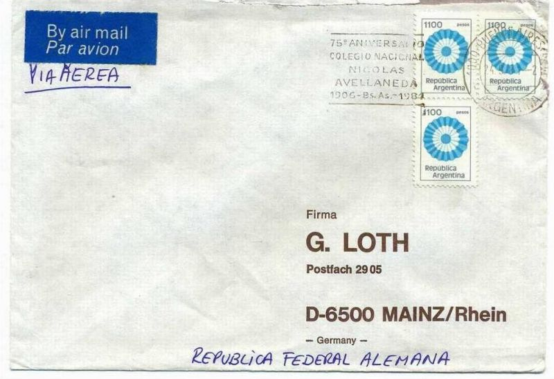 Luftpost-Brief, 24.09.1981, Buenes-Aires – Mainz,