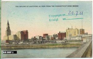 "um 1950/1960 Ansichtskarte ""Skyline of Hartford"",  gelaufene Karte"