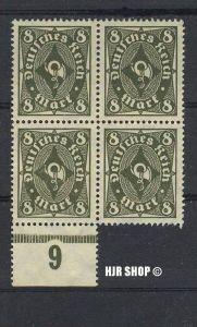 1922, Mai/1923. Febr. Posthorn, MiNr. 229**, 4er Block mitUnterrandst., Zustand: Gut