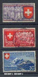 1939 Landesausstellung, Deutsch MiNr.335+336+337 gest. Französisch Minr. 338+339+340 gest