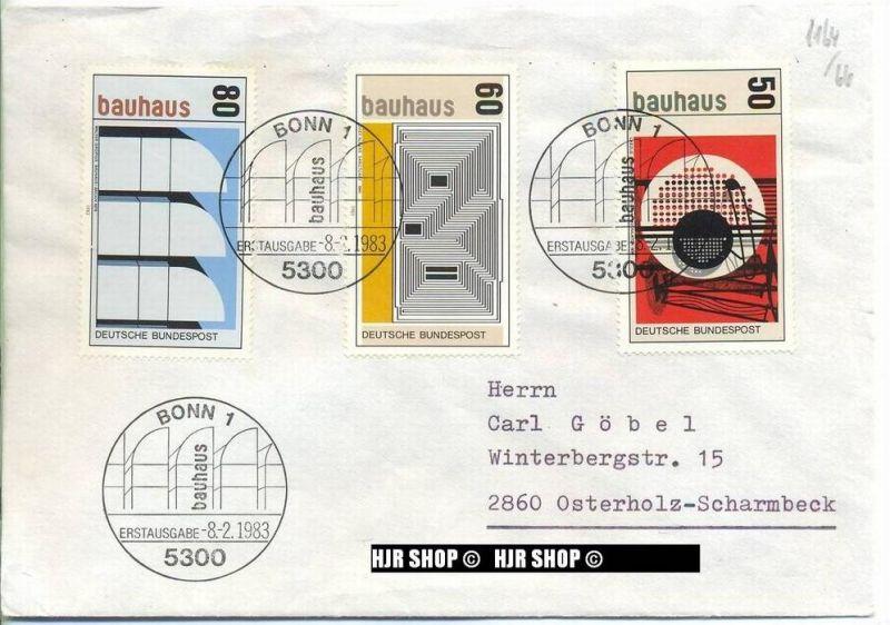 1983,Satz 3 W, Bauhaus, Minr.1164,1165,1166 gest. 0