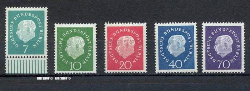 1959 Theodor Heuss, MiNr. 182-186**, Satz 5W