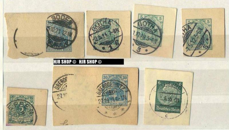 Kartenstücke mit Marken und Stempel vor 1945