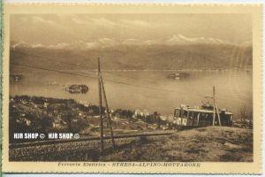 """um 1920/1930 Ansichtskarte,  """"ferrovia Elettrica"""" mit Frankatur"""