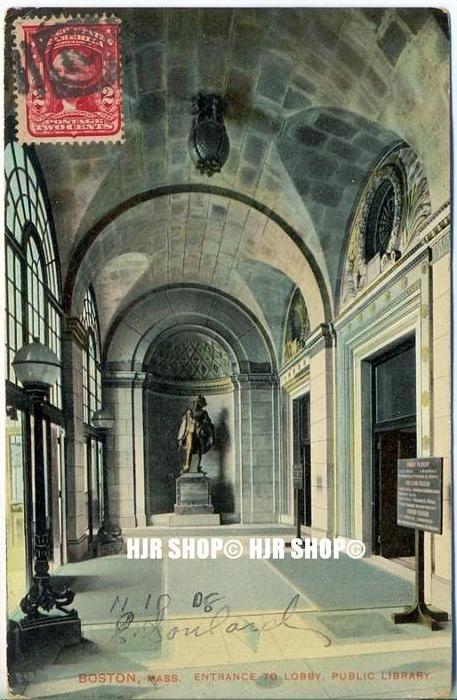 "um 1900/1910  Antsichtskarte,  ""Boston "" mit Frankatur, Stempel,"