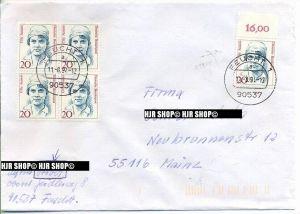 1988, Frauen auf Brief, 20Pf,MiNr.1365, MeF, im 4er Block, sauber gestempelt