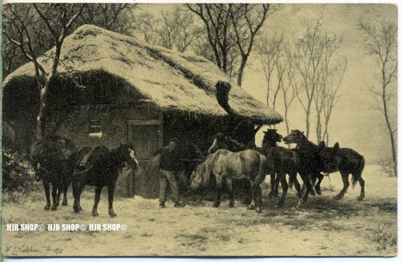 """"""" Arbeitspferde, W.C. Nakken 1875""""   ,  Ansichtskarte, ungebrauchte Karte"""