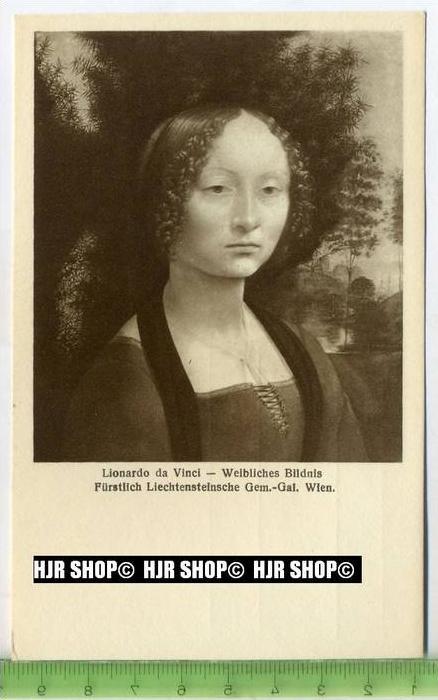 """""""Lionardo da Vinci-Weibliches Bildnis"""" um 1950/1960 ungebrauchte Karte"""