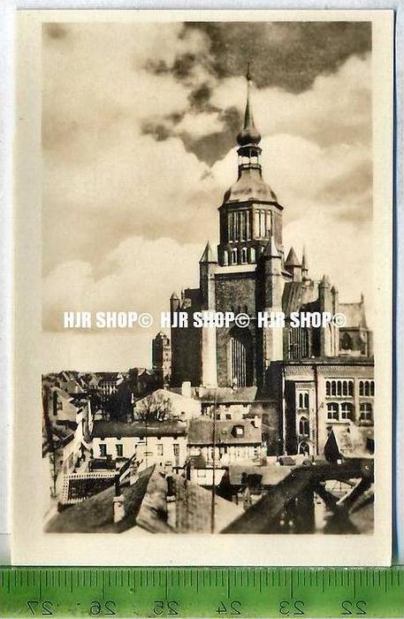 Stralsund, ca. 1920/1930,  Sammelfoto 9 x 6 cm,  Westansicht der Marienkirche