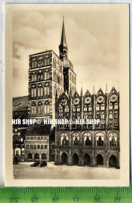 Stralsund, ca. 1920/1930,  Sammelfoto 9 x 6 cm,  Nicolaikirche und Rathaus