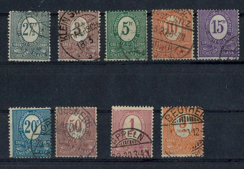 1920 Oberschlesien, Freimarken Ziffern,  MiNr. 1-9 Gest, Satz 9 W    Zustand: I-II