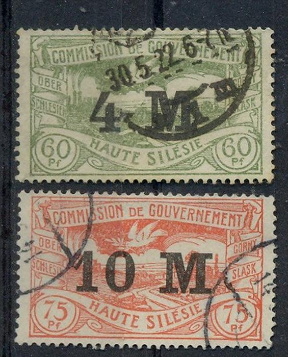 1922 Oberschlesien, Freimarken mit neuem Bedr. Wertaufdr.,  MiNr. 41+42 Gest, S   Zustand: I-II
