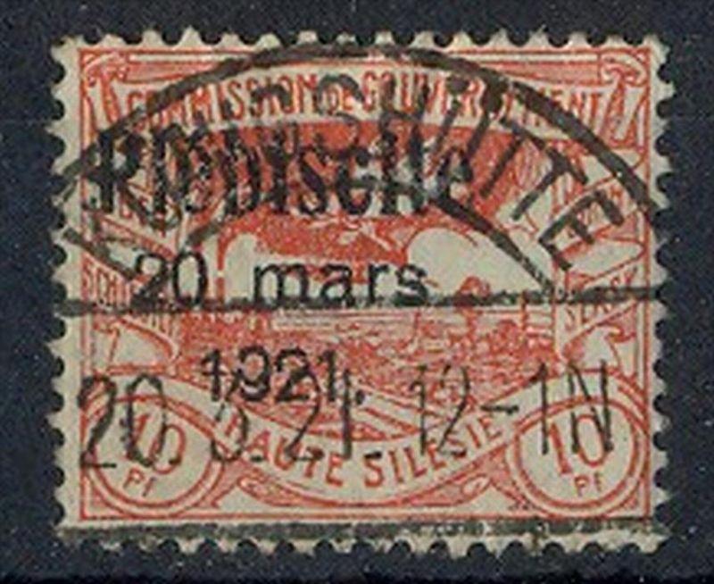 1921 Oberschlesien, Volksabstimmung mit  Bedr. Aufdruck.,  MiNr. 30 Gest,    Zustand: I-II