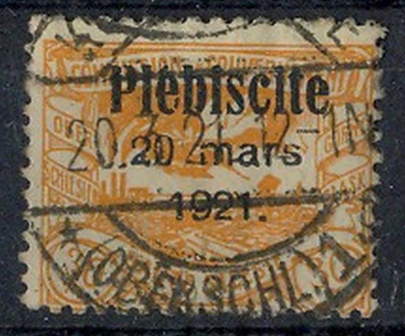 1921 Oberschlesien, Volksabstimmung mit  Bedr. Aufdruck.,  MiNr. 34 Gest,    Zustand: I-II