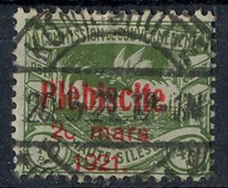 1921 Oberschlesien, Volksabstimmung mit  Bedr. Aufdruck.,  MiNr. 35 Gest,    Zustand: I-II