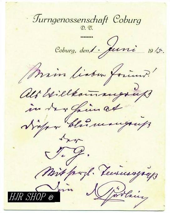 Turngenossenschaft Coburg, 1. Juni 1915
