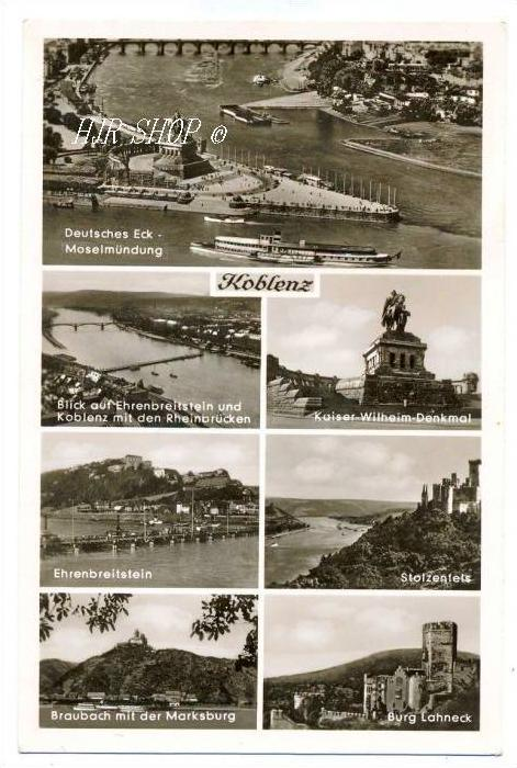 Koblenz, 7 Bilder Karte,  Ungel.