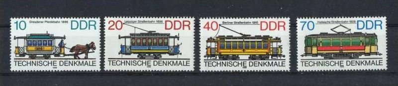 1986, 20. Mai Technische Denkmale(III) Historische Straßenbahnen 3015-3018 Satz**