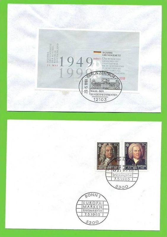 1985,7. Mai, Eropäisches Jahr der Musik, 1248/48 FDC 1999, 21. Mai. Block 50 jahre grundgesetz, Block 48, FDC
