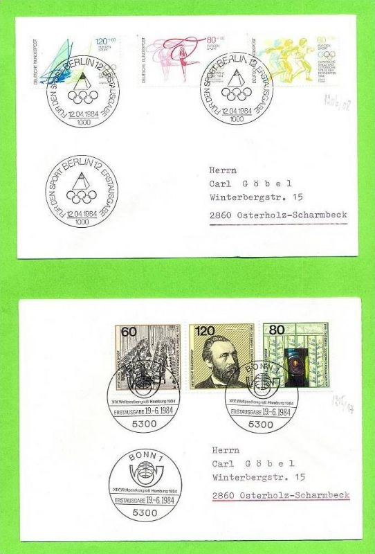1984, 12. April, Sporthilfe, 1206,1207,1208, FDC 1984, 19. Juni, Weltpostkongress Hamburg, 1215,1216,1217, FDC