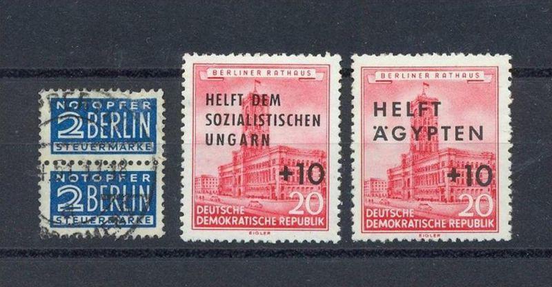 DDR, 1956, 557+558** und Paar Spendenm. Berlin, gest 4.1951