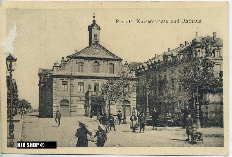 """""""Kaiserstrasse und Rathaus"""",  gelaufene Karte ohne Frankatur"""
