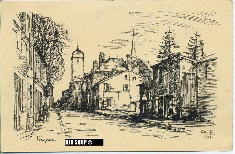 """um 1910/1920 Ansichtskarte (Feldpost) """"Steinzeichnung von Willi Egler"""",  gelaufene Karte"""