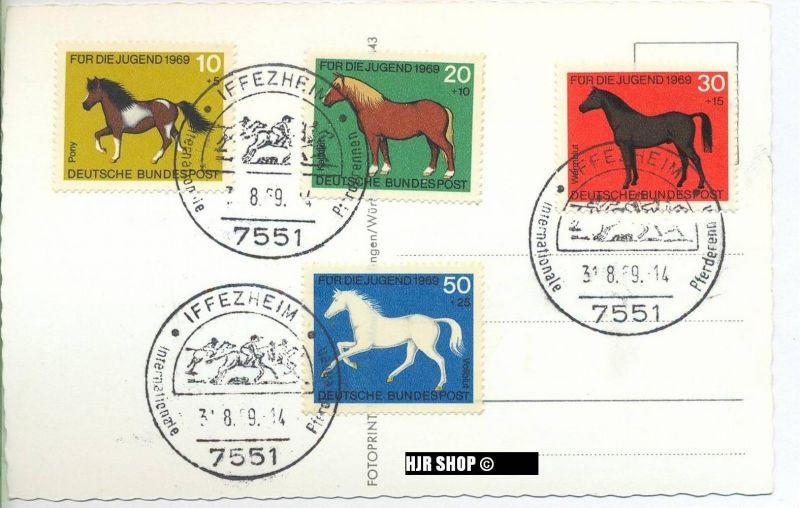 1969, Pferde auf Karte mit Sonderstempel, Satz 4 W,Minr. 578-581