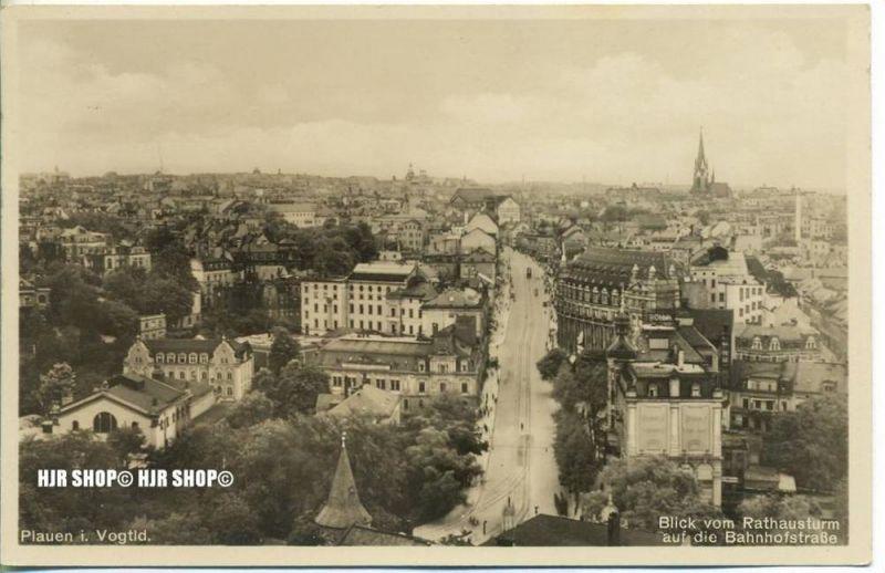 "um 1930/1940  Antsichtskarte,  ""Blick vom Rathausturm, ""  mit Frankatur, Stempel,"