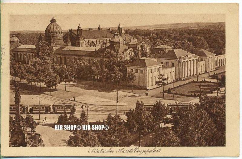 """um 1920/1930  Antsichtskarte,  """"Städtischer Ausstellungspalast, """"  mit Frankatur, Stempel,"""
