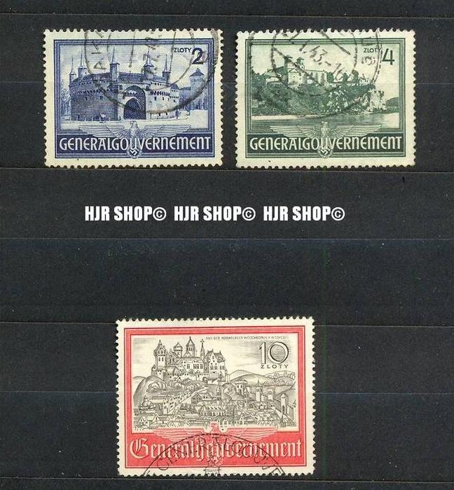 1941, Generalgouvernement, MiNr. 63-65 gest. Satz 3 W