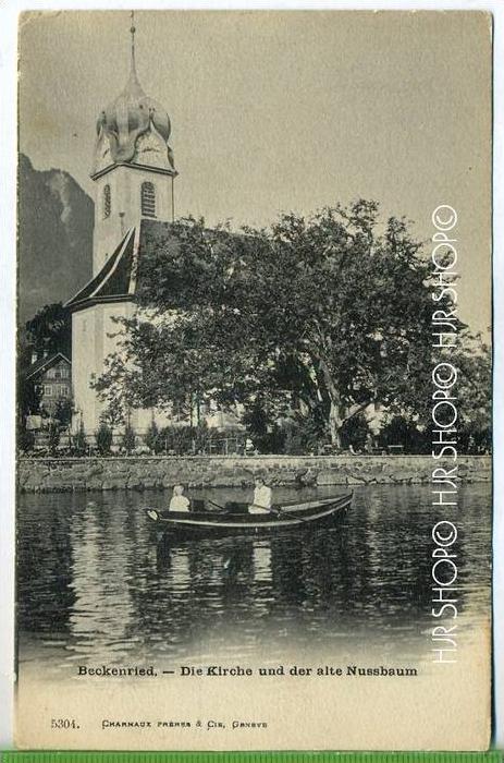 """""""Beckenried, Die Kirche und der alte Nussbaum""""  um 1920 /1930 Verlag: --- Postkarte,"""